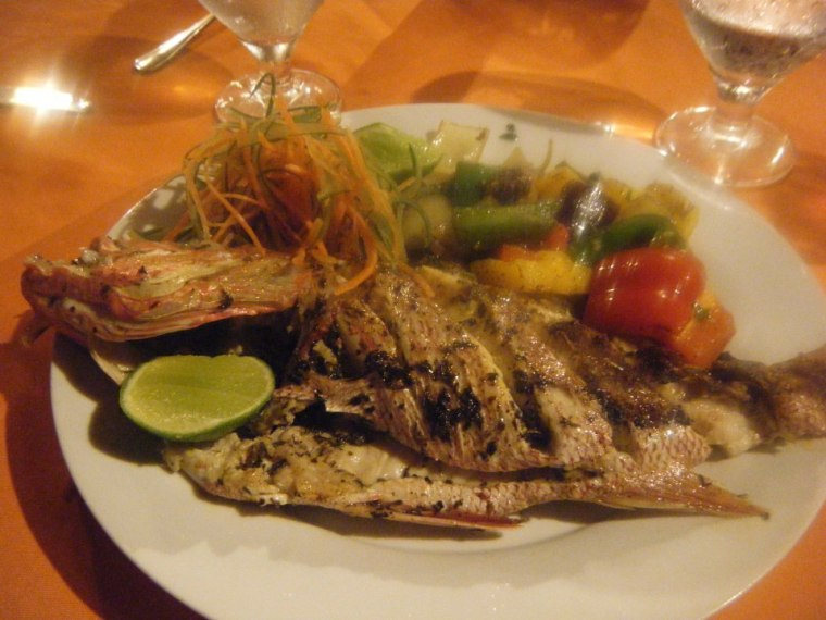 Fresh fish & grilled veggies - just one of many incredible meals at Rancho Platon