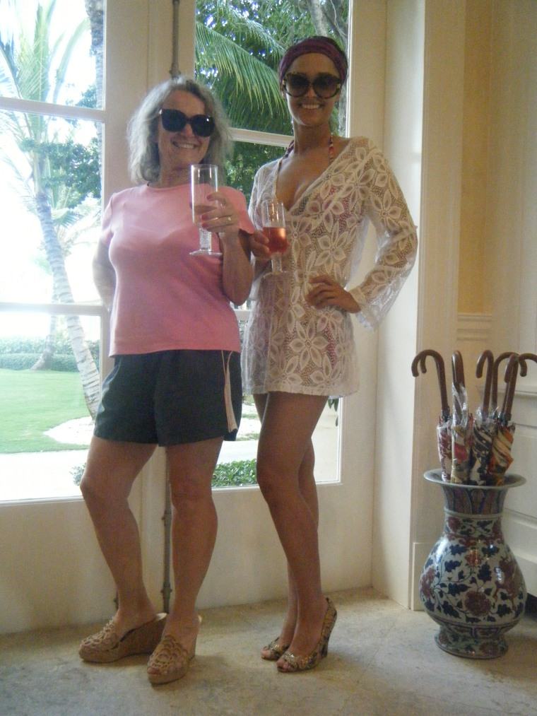 'Virginia' in designer shoes and sunglasses with Austin's mom and our champagne!