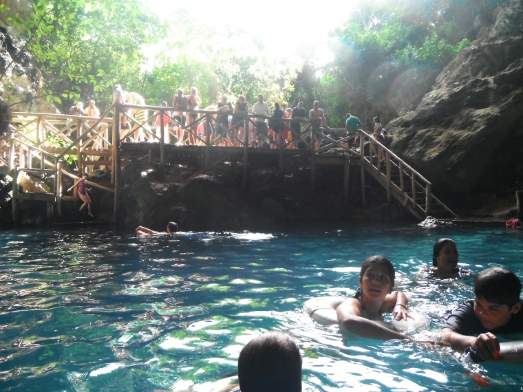 Bathing with an audience at Hoyo Azul
