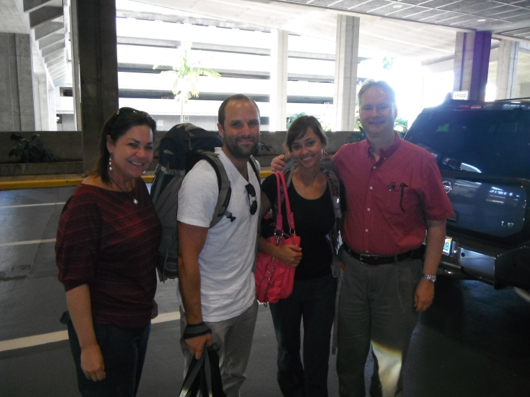 A & I with Mom & Dad at the Tampa airport