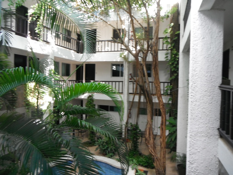 The courtyard of the Hotel Colonial, our Cancun beds