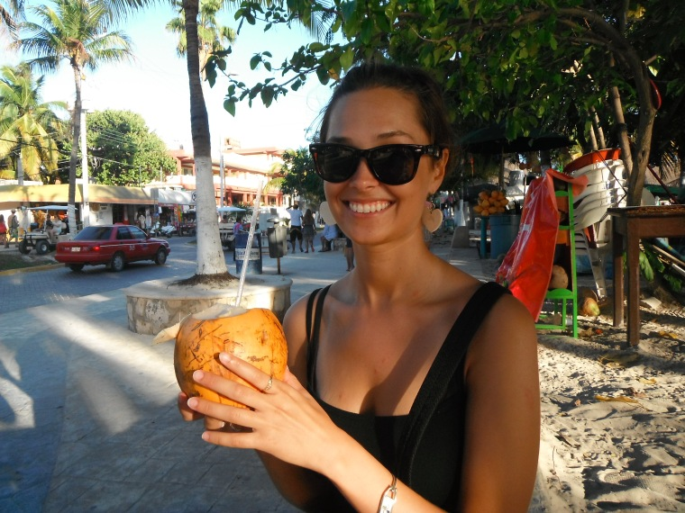 First Mexican coconut of many - obligatory happy photo