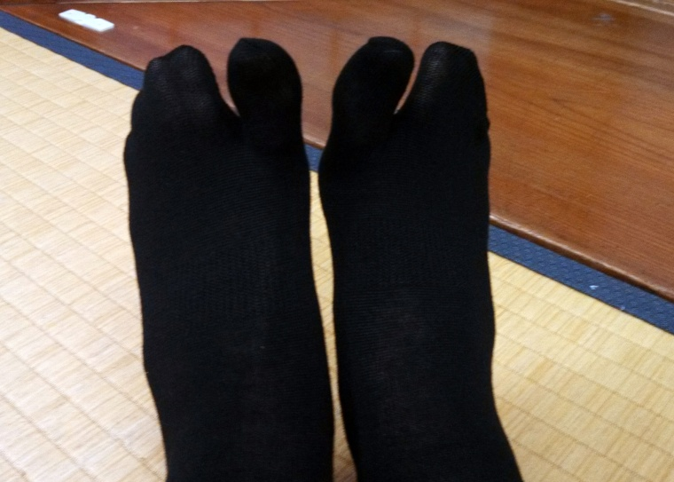 Okay, so this isn't a picture of an onsen. But it IS a picture of the really cool socks they gave me to walk to the onsens wearing!