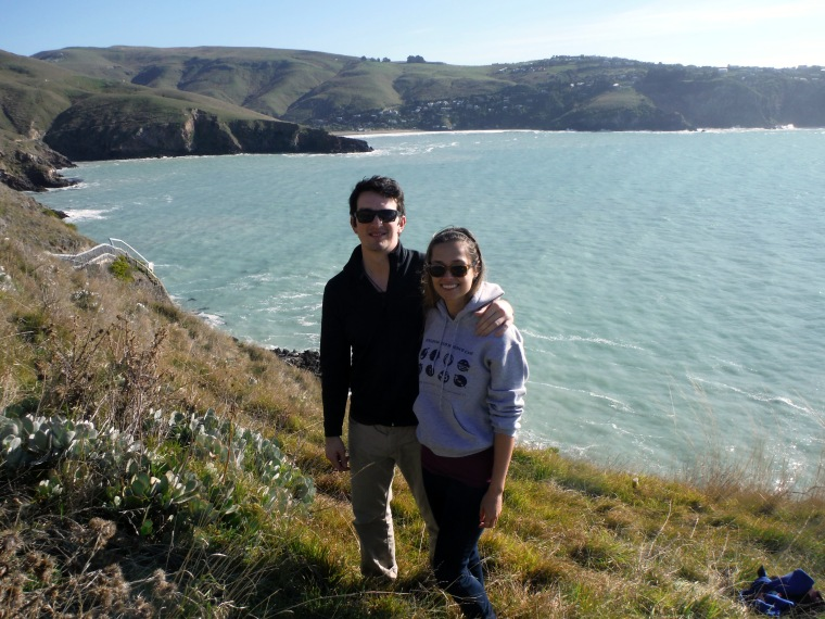 Tom and I on the cliffs near his house on my first trip to New Zealand