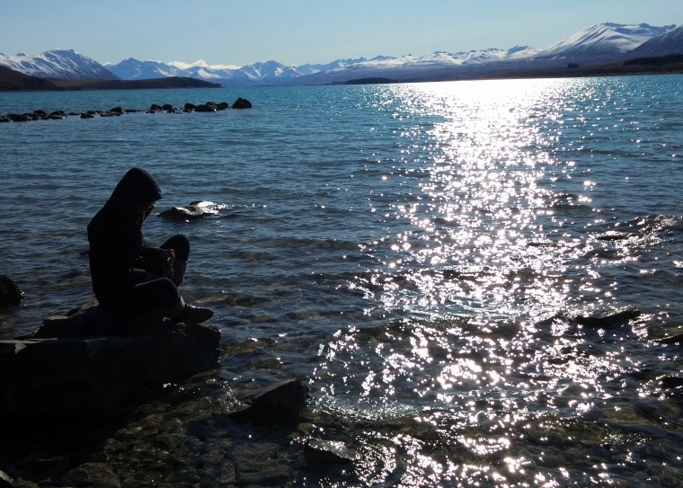Cleaning my Invisalign trays in the waters of gorgeous Lake Tekapo, New Zealand
