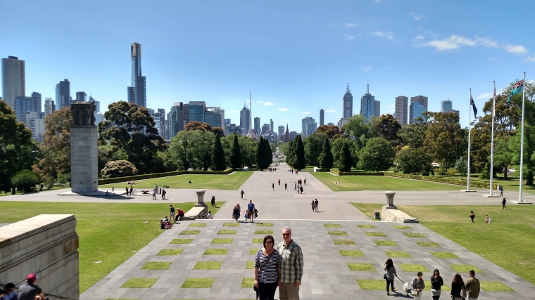 My parents posing in front of the CBD from the Shrine of Remembrance in the Botanical Gardens